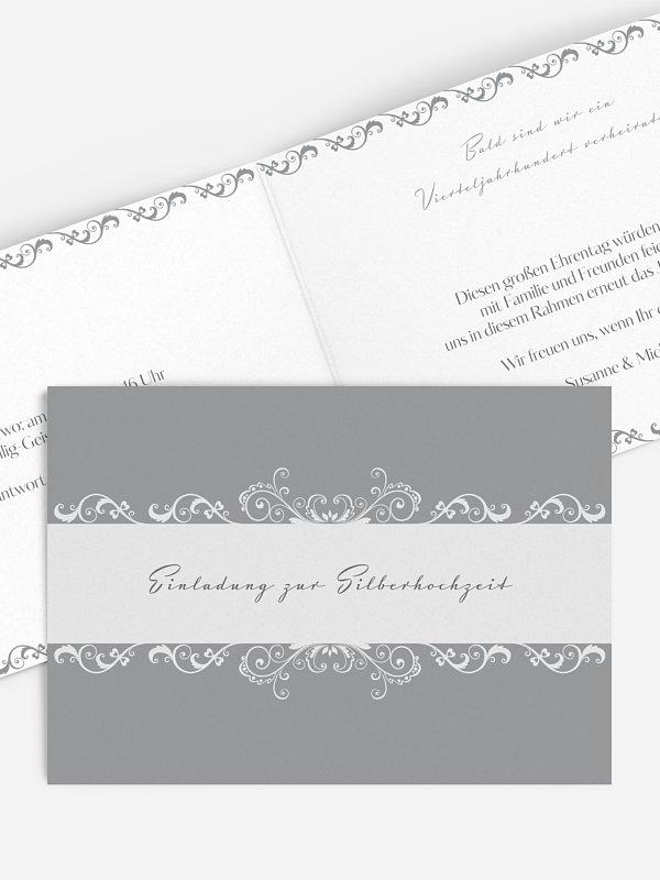 Einladung zur Silberhochzeit Klassik