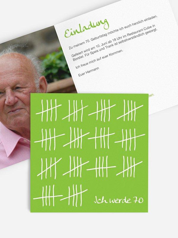Einladung 70. Geburtstag Strichliste