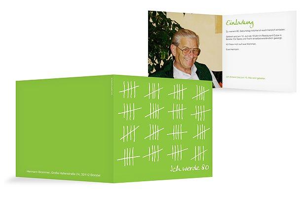 Einladung 80. Geburtstag Strichliste