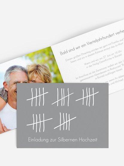Einladungskarten Zur Silberhochzeit Edel Individuell