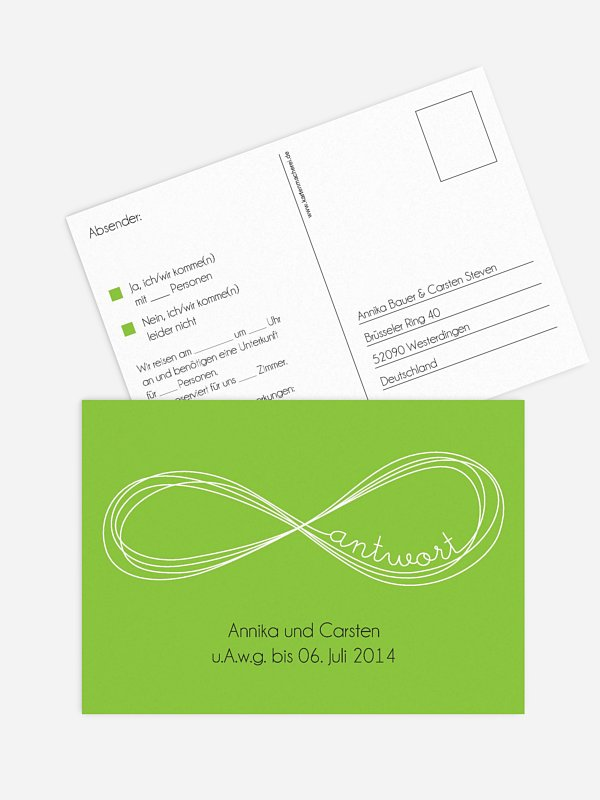 Antwortkarte Hochzeit Unendlich