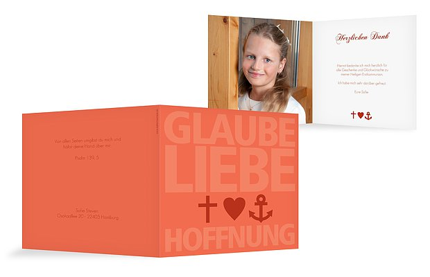 "Dankeskarte Kommunion ""Glaube, Liebe, Hoffnung"""