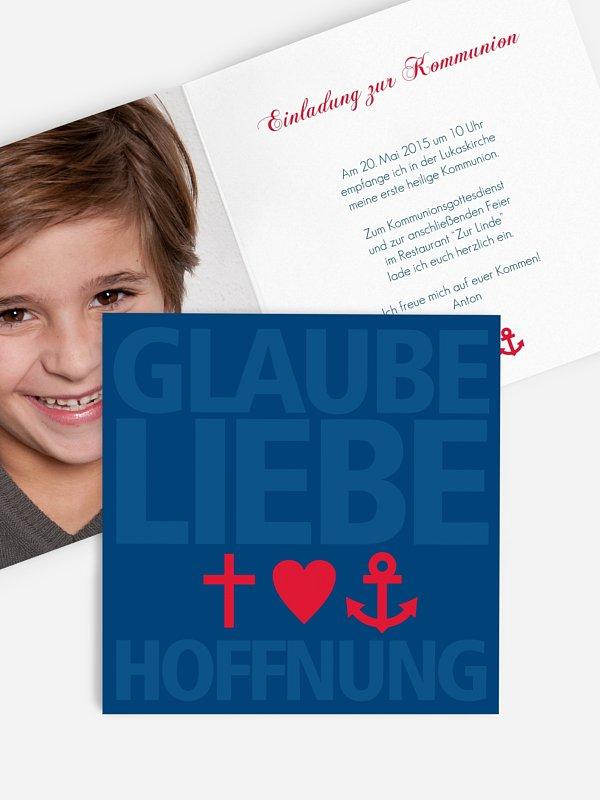 Kommunionseinladung Glaube, Liebe, Hoffnung