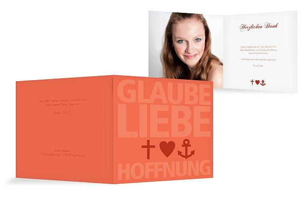 "Dankeskarte Konfirmation ""Glaube, Liebe, Hoffnung"""