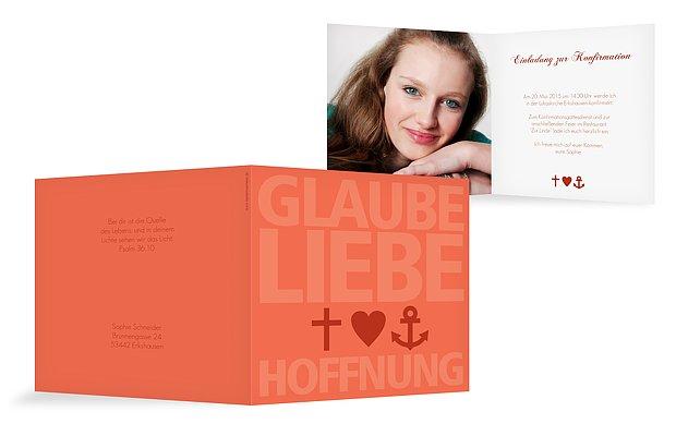 """Konfirmationseinladung """"Glaube, Liebe, Hoffnung"""""""