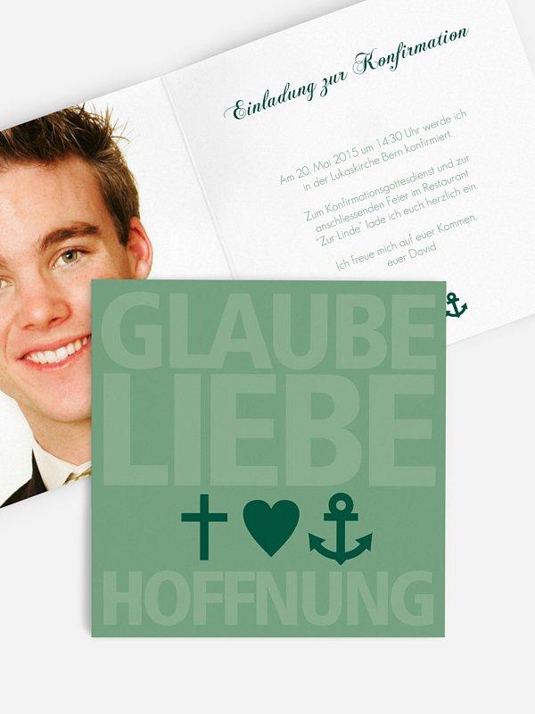 Konfirmationseinladung Glaube, Liebe, Hoffnung