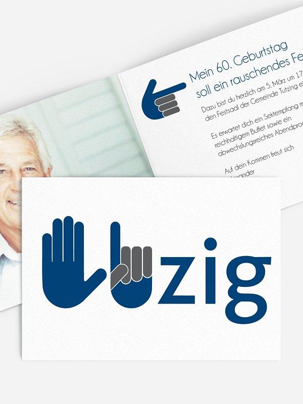 Einladung 60. Geburtstag Handzeichen