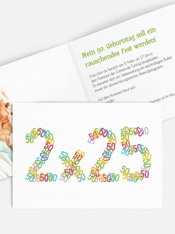 Einladung 50. Geburtstag Zahlenspiel