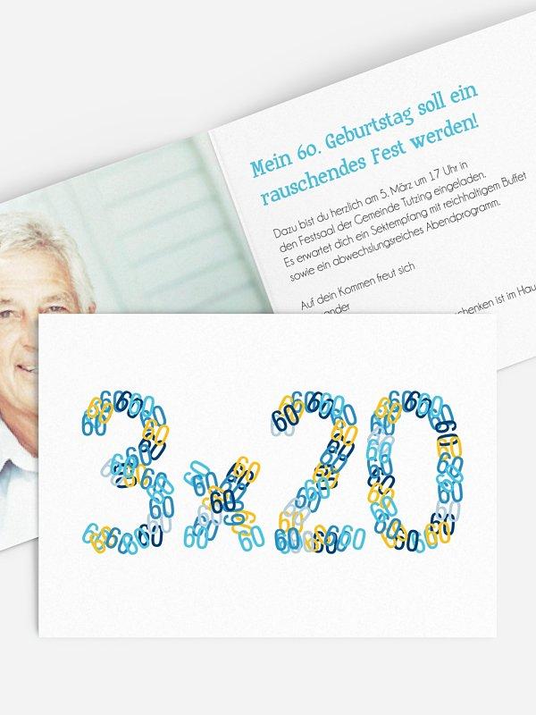 Einladung 60. Geburtstag Zahlenspiel