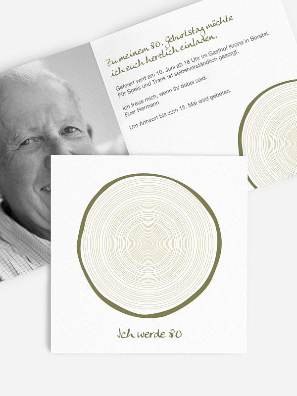 Einladung 80. Geburtstag Jahresringe