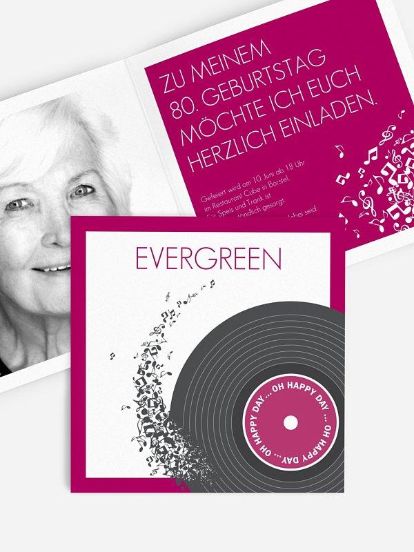 Einladung 80. Geburtstag Schallplatte