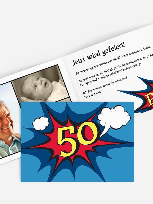 Einladung 50. Geburtstag Comic
