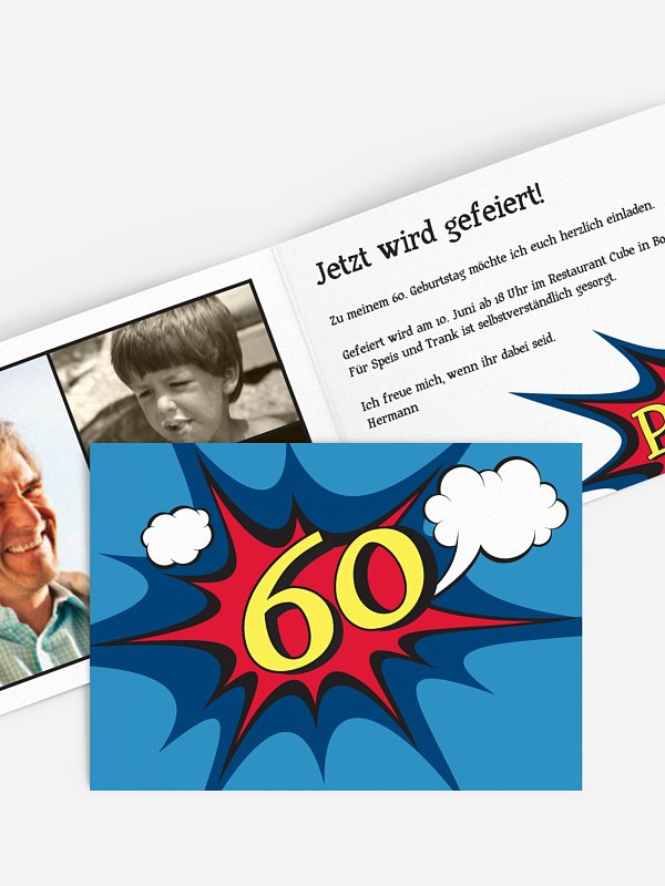 Einladung 60. Geburtstag Comic