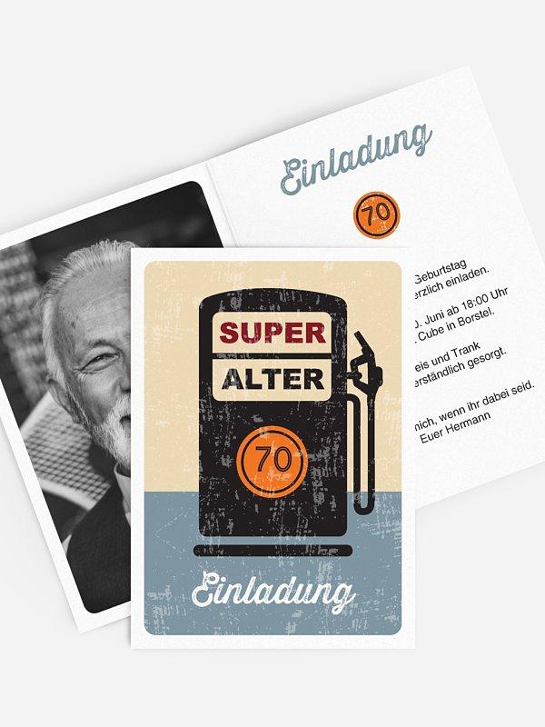 Einladung 70. Geburtstag Super Alter