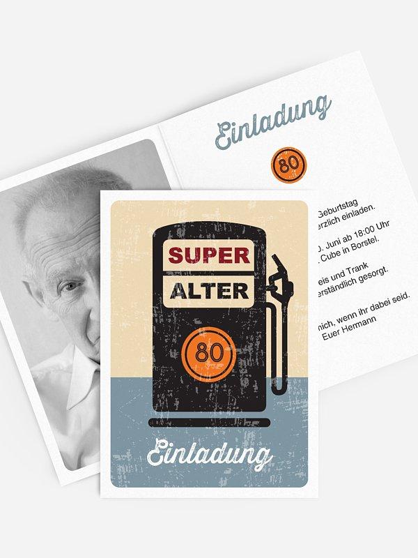 Einladung 80. Geburtstag Super Alter