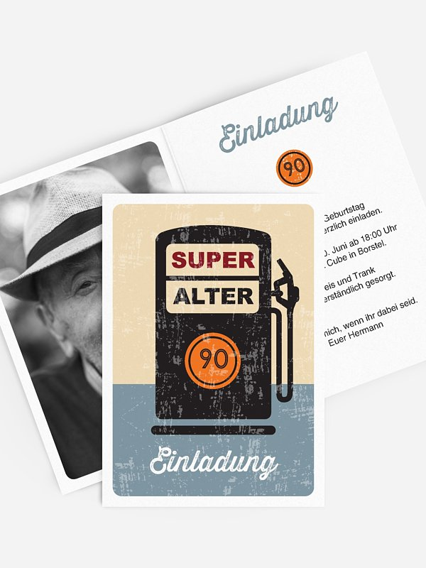 Einladung 90. Geburtstag Super Alter