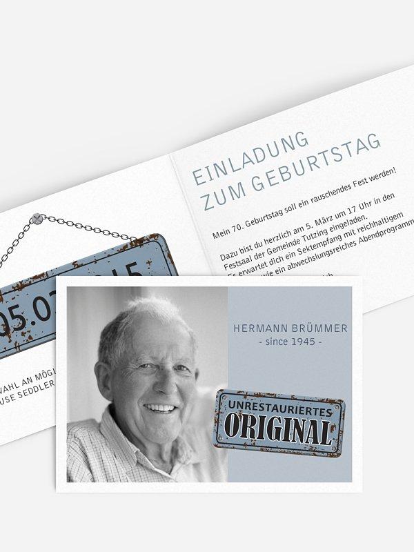 Einladung 70. Geburtstag Unrestauriertes Original