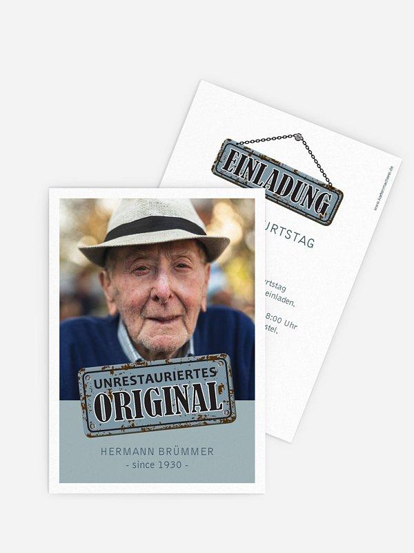 Einladung 90. Geburtstag Unrestauriertes Original