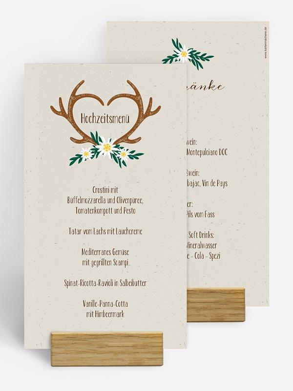 Menükarte Hochzeit Heimatliebe