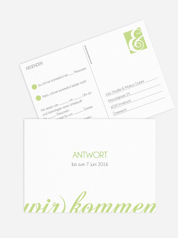 Antwortkarte Hochzeit Liebesworte
