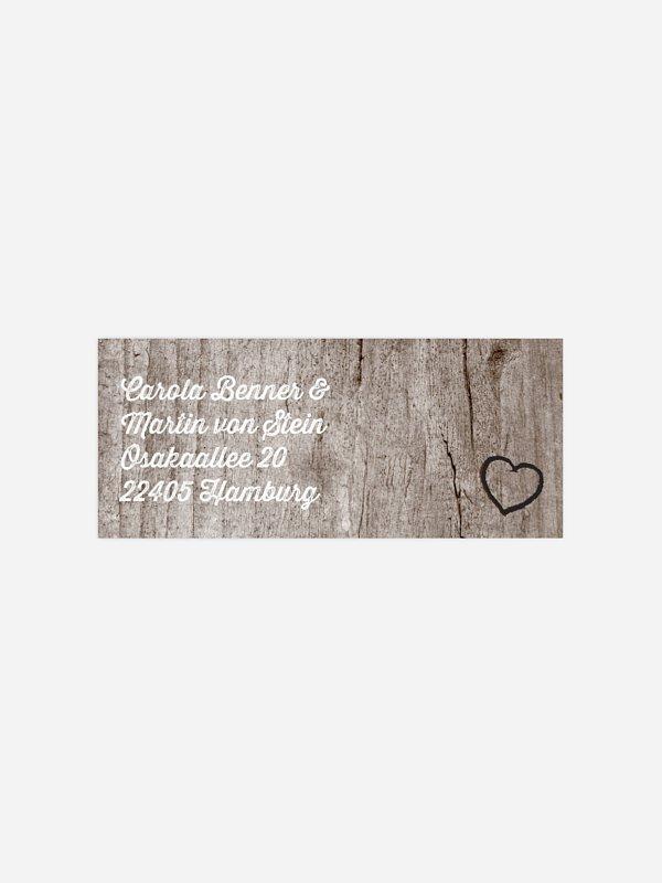 Absenderaufkleber Hochzeit Wooden Love