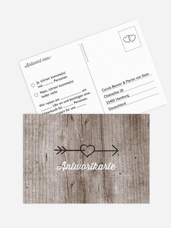 Antwortkarte Hochzeit Wooden Love