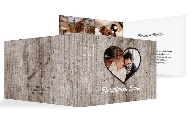 Dankeskarte Hochzeit Wooden Love
