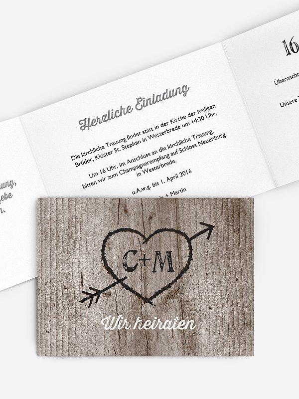 Hochzeitseinladung Wooden Love