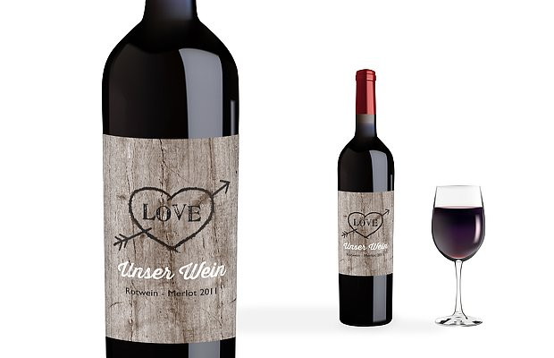 Flaschenetikett Hochzeit Wooden Love