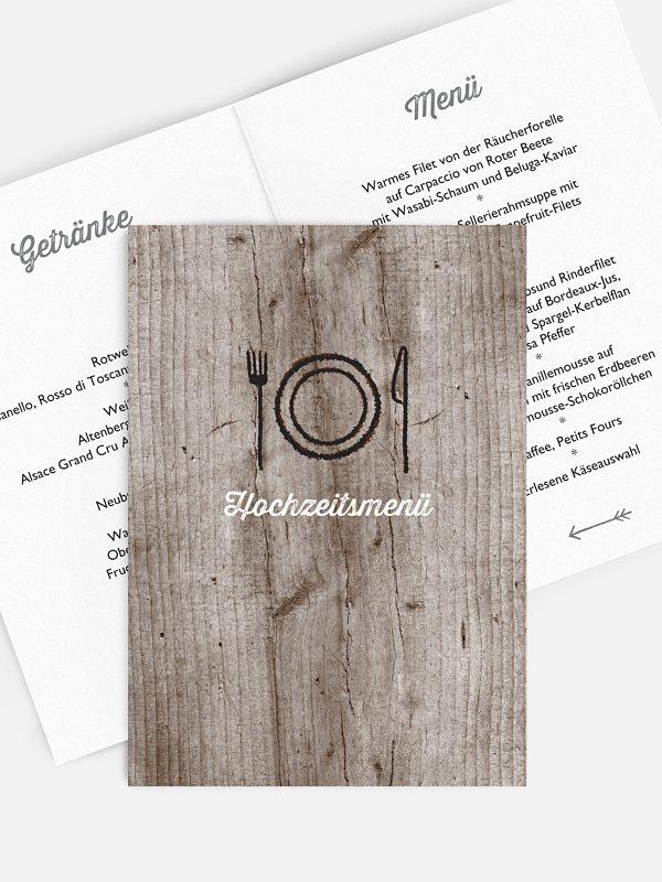 Menükarte Hochzeit Wooden Love