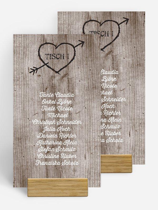 Gruppentischkarte Wooden Love