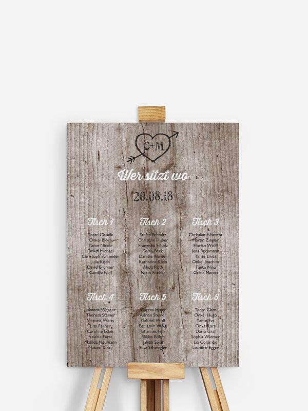 Sitzplan Plakat Wooden Love