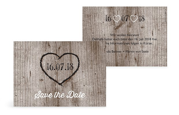 Save-the-Date Karte Wooden Love