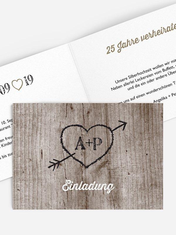 Einladung zur Silberhochzeit Wooden Love
