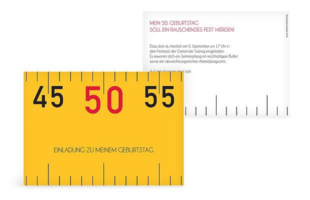 """einladungskarten 50. geburtstag """"angemessen"""", Einladungsentwurf"""