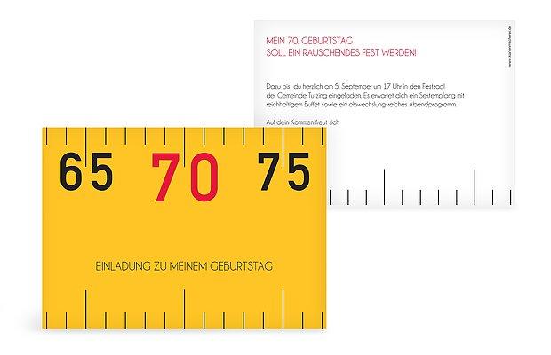 """einladungskarten 70. geburtstag """"angemessen"""", Einladungsentwurf"""
