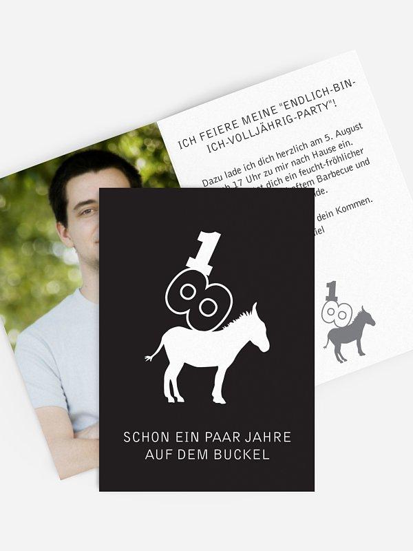 """einladungskarten 18. geburtstag """"nimm´s leicht"""""""