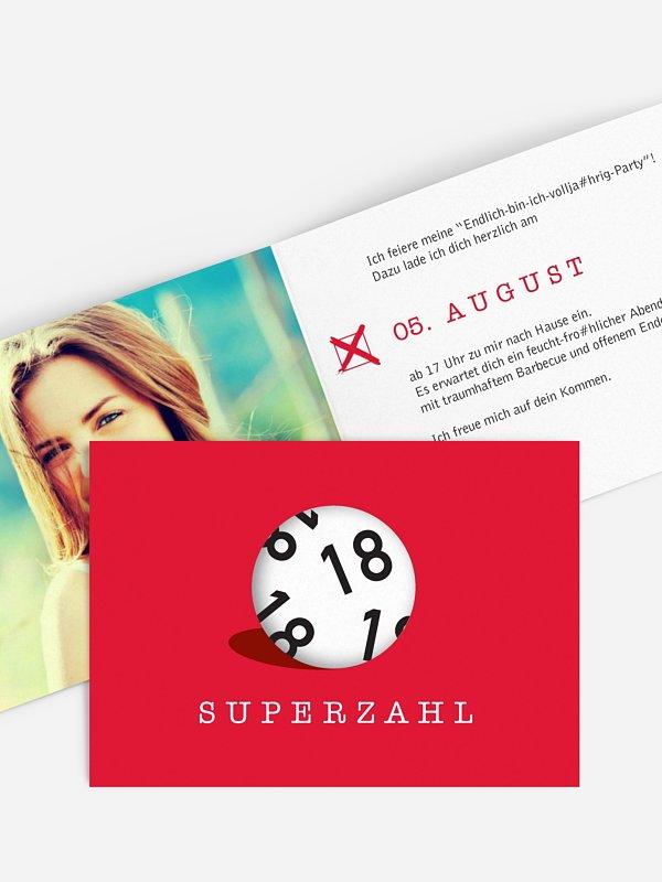 Einladung 18. Geburtstag Superzahl
