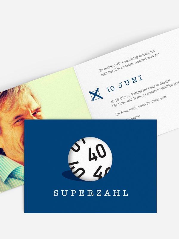 Einladung 40. Geburtstag Superzahl