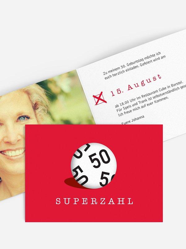 Einladung 50. Geburtstag Superzahl