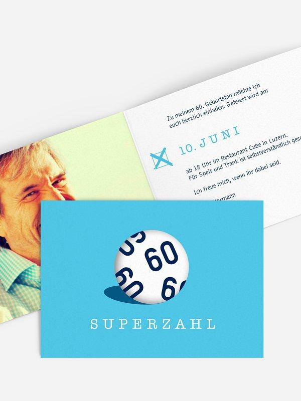 Einladung 60. Geburtstag Superzahl
