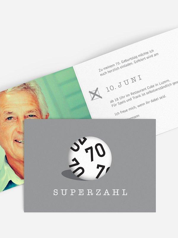 Einladung 70. Geburtstag Superzahl