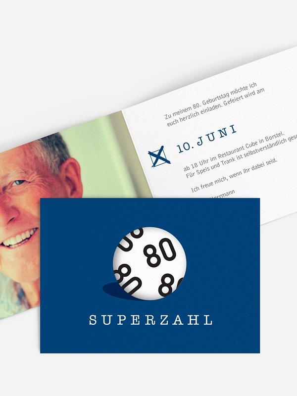 Einladung 80. Geburtstag Superzahl
