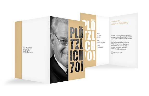 Einladungskarten 70 Geburtstag Plotzlich