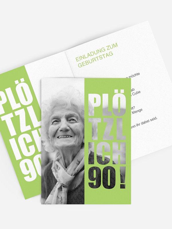 Einladung 90. Geburtstag Plötzlich