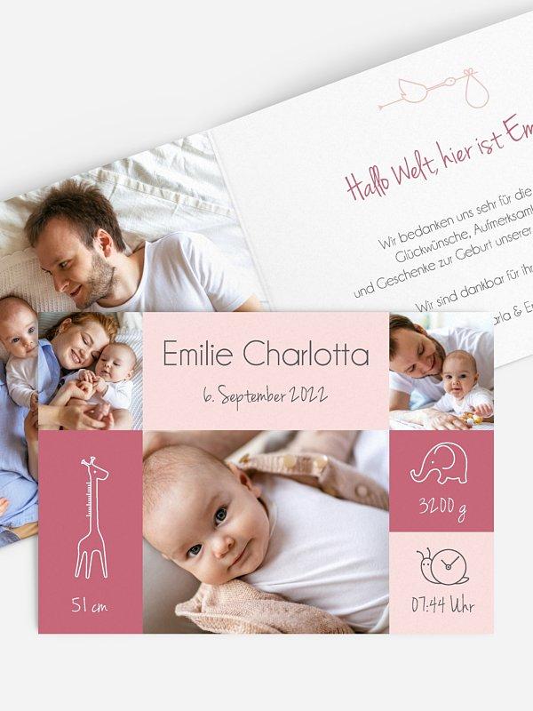 Geburtskarte Little Friends