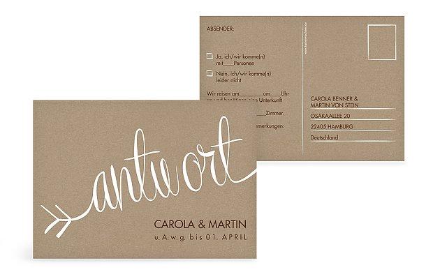 Antwortkarte Hochzeit Liebespfeil Kraftpapier