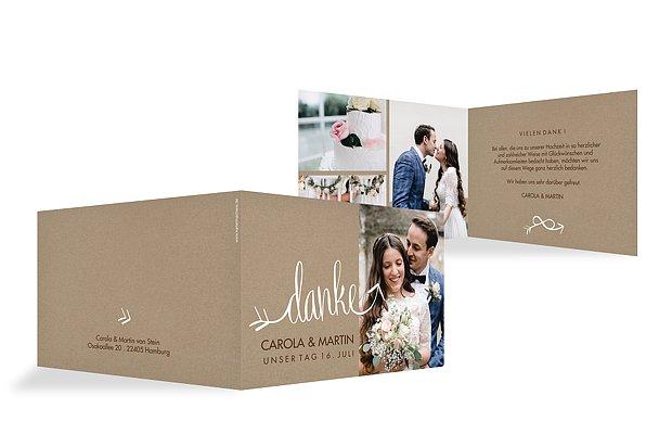 Dankeskarte Hochzeit Liebespfeil Kraftpapier