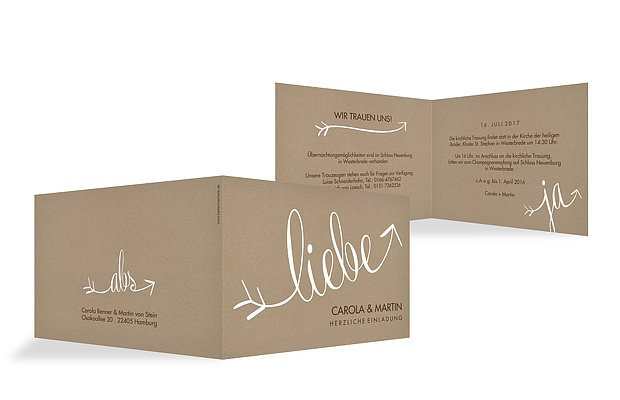 Hochzeitseinladung Liebespfeil Kraftpapier