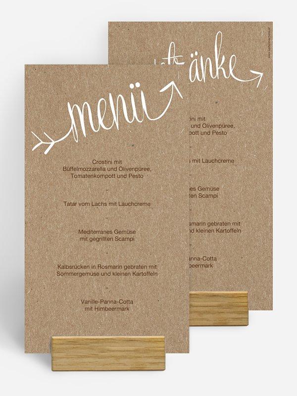 Menükarte Hochzeit Liebespfeil Kraftpapier
